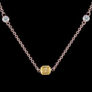 1.6 ct.yellow canary center diamond yards necklace